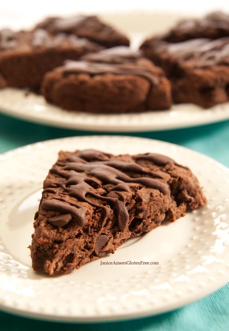 Gluten Free Chocolate-Chocolate Chip Scones with Chocolate Drizzle