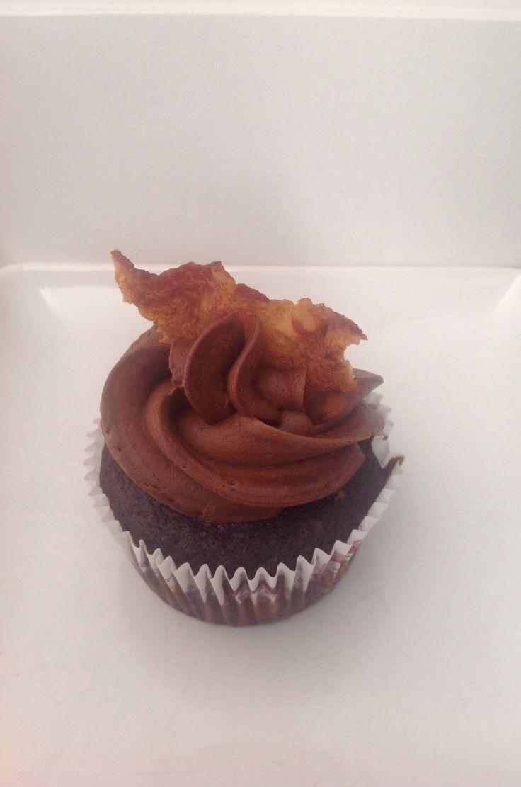 Dark Chocolate, Coffee, Bacon Cupcakes