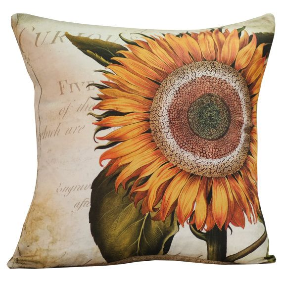 Vintage French Pillow Botanical Spring Sunflower Antique ...