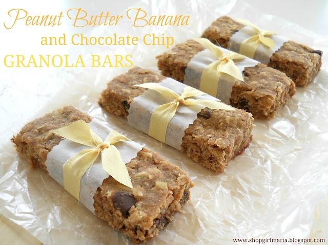 PEANUT BUTTER BANANA AND CHOCOLATE CHIP GRANOLA BARS