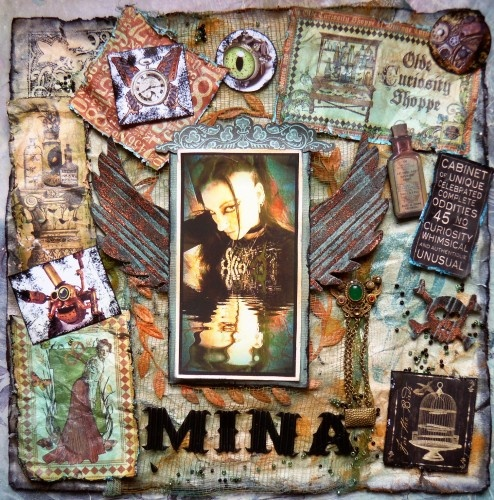 Reflections of Mina ~ Scraps of Darkness ~ Needful Things. Using Graphic 45, Tim Holtz grungeboard, distress ink and Zutter distress it all.