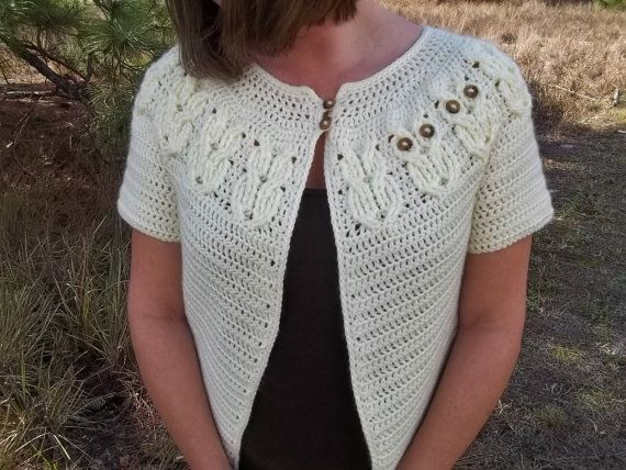 Ladies Crochet Patterns : Its a Hoot Owl Ladies Cardigan Sweater- Crochet Pattern, Instant ...