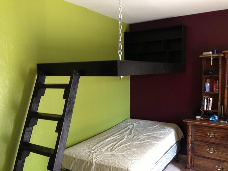 Corner hanging loft bed home ideas pinterest for Floating loft bed designs