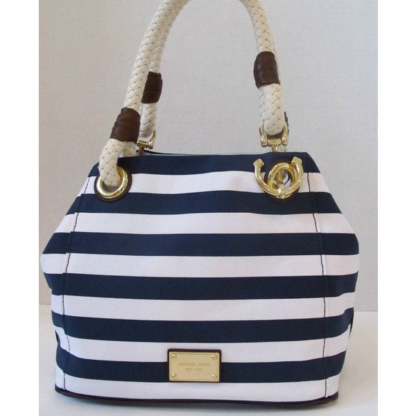 ... Navy White Striped Canvas Anchor Rope Purse Tote found on Polyvore
