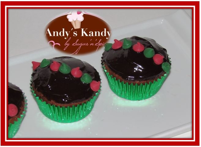 Christmas Banana Bread Chocolate Chip cupcakes with chocolate ganache