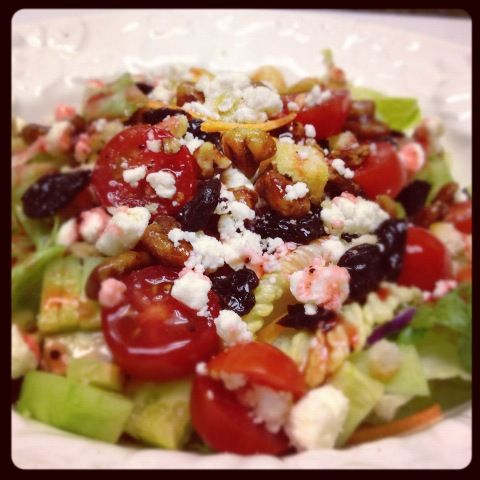 Glazed Pecan, Dried Cherry, and Feta Cheese Salad With Raspberry Dres ...