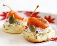 Chive Biscuits with smoked salmon and fennel cream cheese