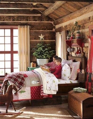 Cozy christmas holiday decor christmas winter for Winter cabin bedding