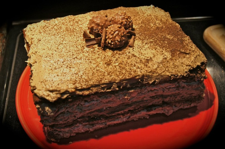 Twelve-Layer Mocha Cake - Holy Tamole. This thing was amazing! Made ...