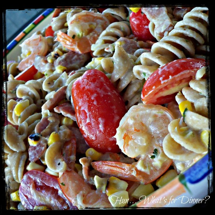 Grilled Corn, Bacon and Shrimp Pasta #recipe - Mommy Moment