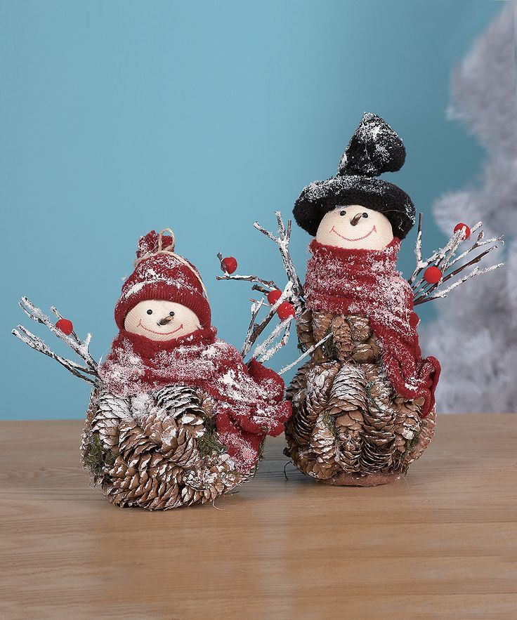 Take a look at this Pinecone Snowman Figurine Set on zulily today!