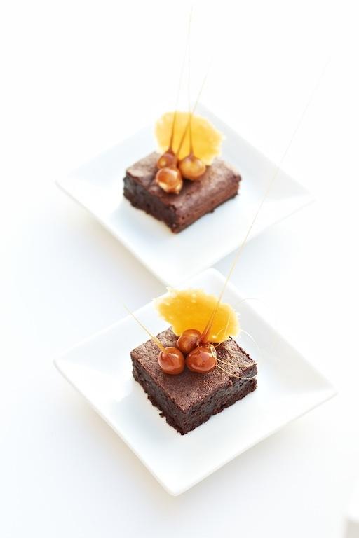 Dark Chocolate & Hazelnut Cake with Toffee Tuile