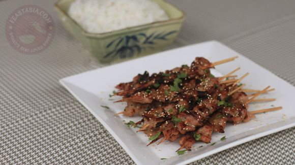 Grilled skewered pork marinated in lemongrass, honey and fish sauce ...