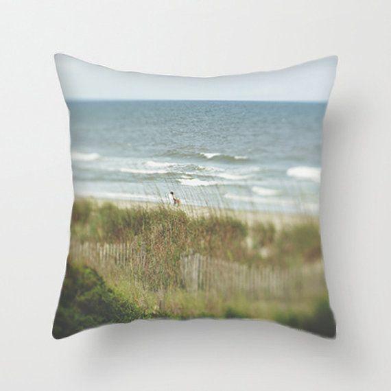 Beach Photo Decorative Pillow Cover, Beach House Decor, Green, Brown