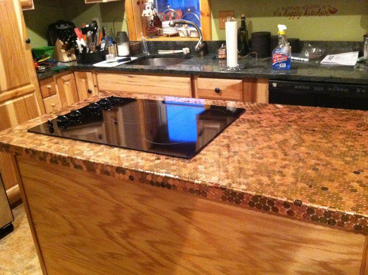 Penny countertop for the home pinterest - Diy redo kitchen countertops ...