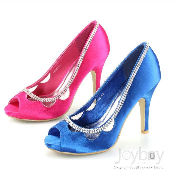 Rhinstone Satin Royal Blue Wedding Shoe High Heels Bridal Wedding Shoes P