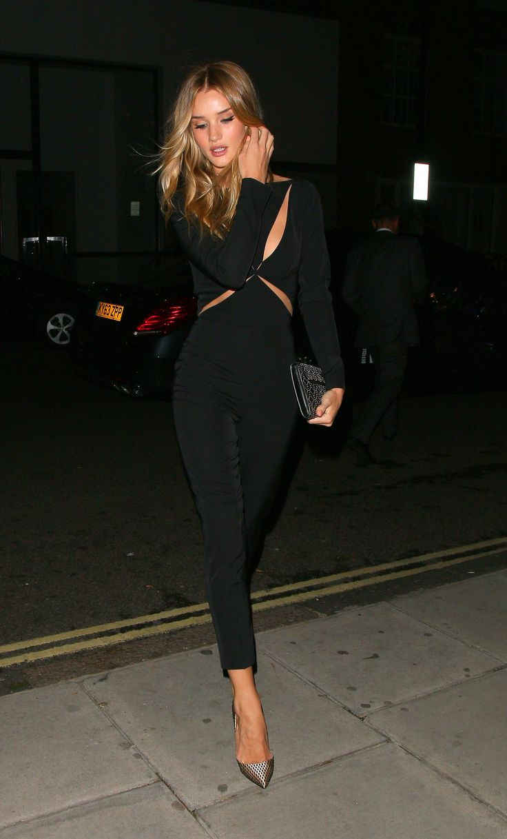 Rosie Huntington-Whiteley wore a Stella McCartney jumpsuit  to the Elle magazine October issue party in London.