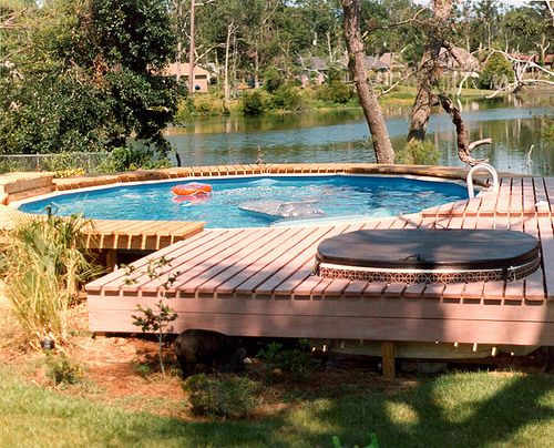 Above ground with hot tub genius outdoor spaces for Above ground pool decks with hot tub