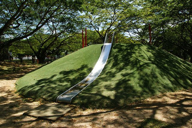 Backyard Hill Slide : Slide built into a hill! thinking Im going to need a pretty big