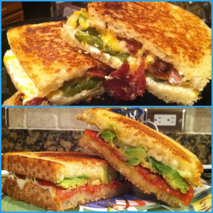 ... grilled cheese & mozzarella, pepperoni and avocado grilled cheese. YUM