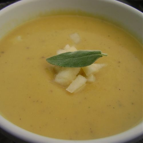 butternut squash soup with pear, shallots, and sage