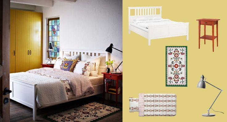 Hemnes lit teint blanc et table de chevet rouge avec for Table de lit roulante ikea