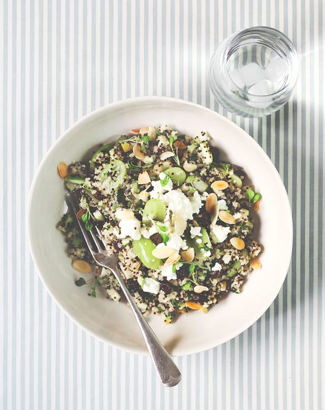 Quinoa salad (using white and black quinoa) with apple, celery, grapes ...
