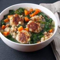 ... meatballs with parmesan and pecorino romano amazing broth carrots and