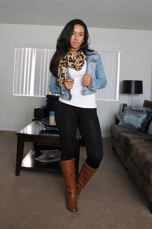 Jean jacket and cheetah scarf!!!! | My Kind of Style | Pinterest