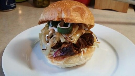 Braised beef ribs, coleslaw, sautéed onions and jalapeños with ...