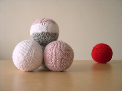 knit balls-- free.....For the juggler in my family, tree ornaments, soft games of catch, etc.