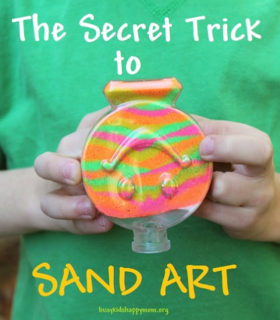 You'll never guess what keeps this sand in place - so easy!  No more spilled masterpieces!