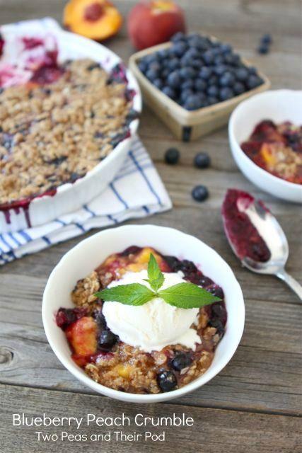 Blueberry Peach Crumble Recipe on twopeasandtheirpod.com. #summer # ...