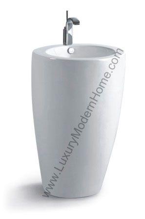 Hostilian 21 quot inch round modern pedestal sink zen feng shui