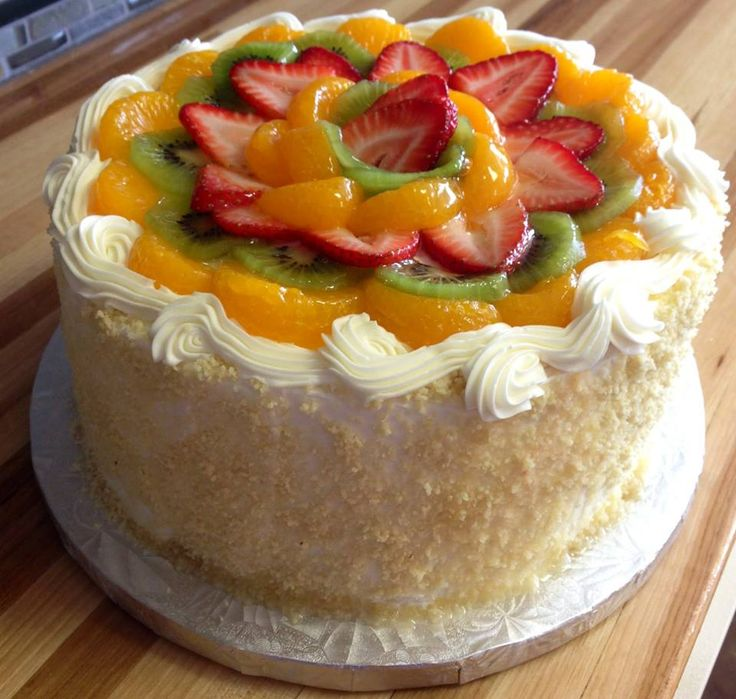 Fruit topped cake Birthday Cakes Pinterest