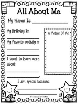 FREE - All About Me - Welcome Back To School ! Enjoy this All About Me ...