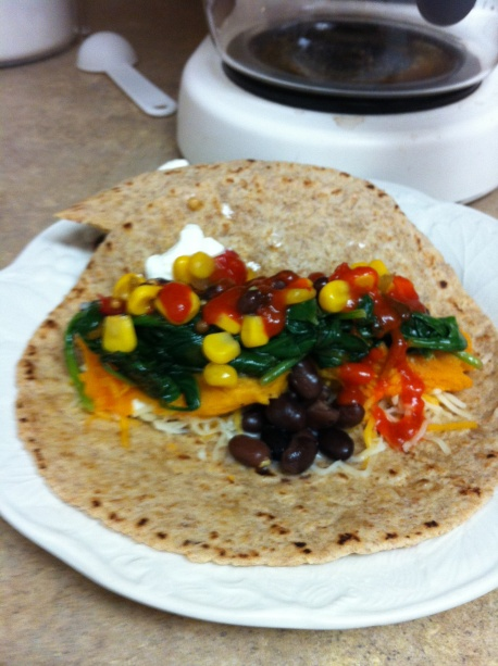 Sweet Potato, Black Bean and Spinach Almost-Burritos | Hot Mess