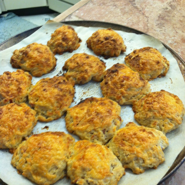 pic of our beer, cheddar, and bacon drop biscuits. Yum.