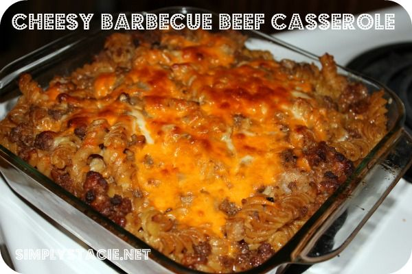 Cheesy Barbecue Beef Casserole. I used ground turkey instead and added ...
