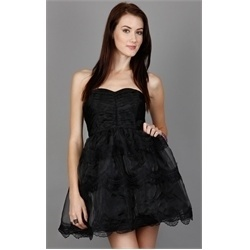 Black Pleated Sweetheart Bust Tiered Mesh Strapless Tube Dress - StyleSays