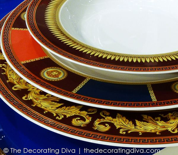 Versace Iconic Heroes Dinnerware Details: Greek Key and Medusa Head