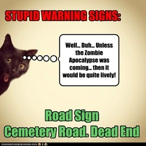 Cemetery Sign Warning