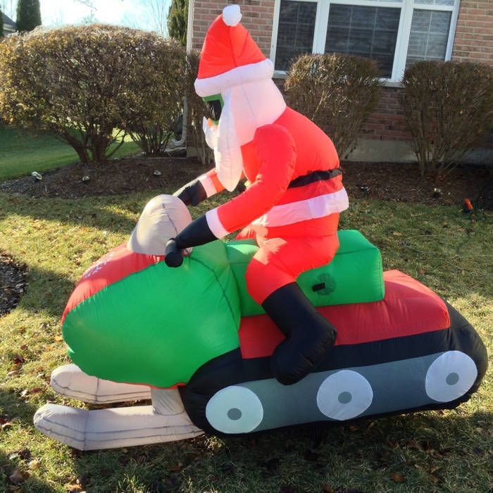 animated santa on snowmobile airblown inflatable christmas decoration - Cheap Inflatable Christmas Decorations
