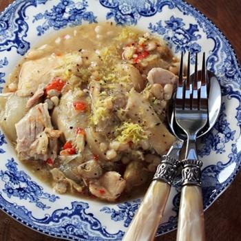 Slow Cooker Lemon Garlic Chicken And White Bean Stew