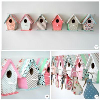 Washi tape birdhouse key hooks!