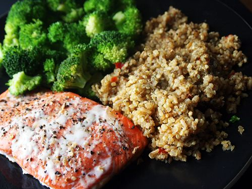 roasted lemon pepper salmon, quinoa brown rice blend, steamed broccoli
