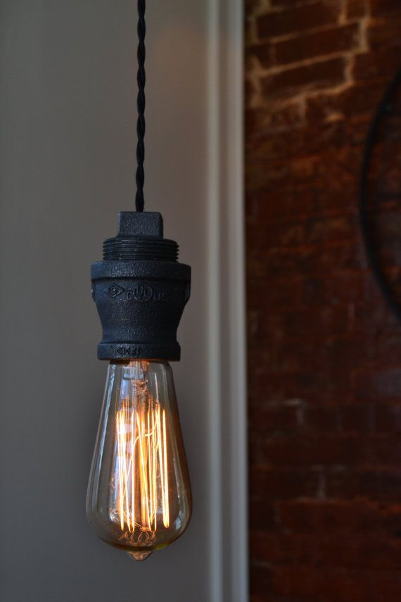 Hanging pendant industrial pipe light edison bulb included for Suspension luminaire cage