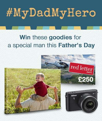 Just upload a picture of your dad or your child's dad and tell us why he's your hero for a chance to win all these goodies!