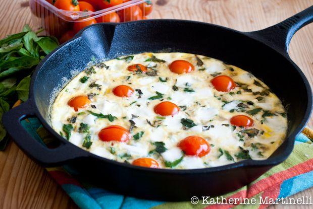 Tomato, Mozzarella, Basil, and Spinach Frittata - oh yum.....