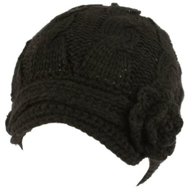 Crochet flower visor beanie